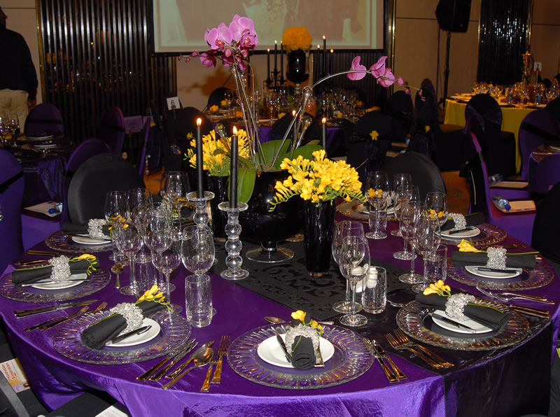 Purple and black table settings weifeng furniture - Epic image of dining room decoration with various black and white table setting ideas ...